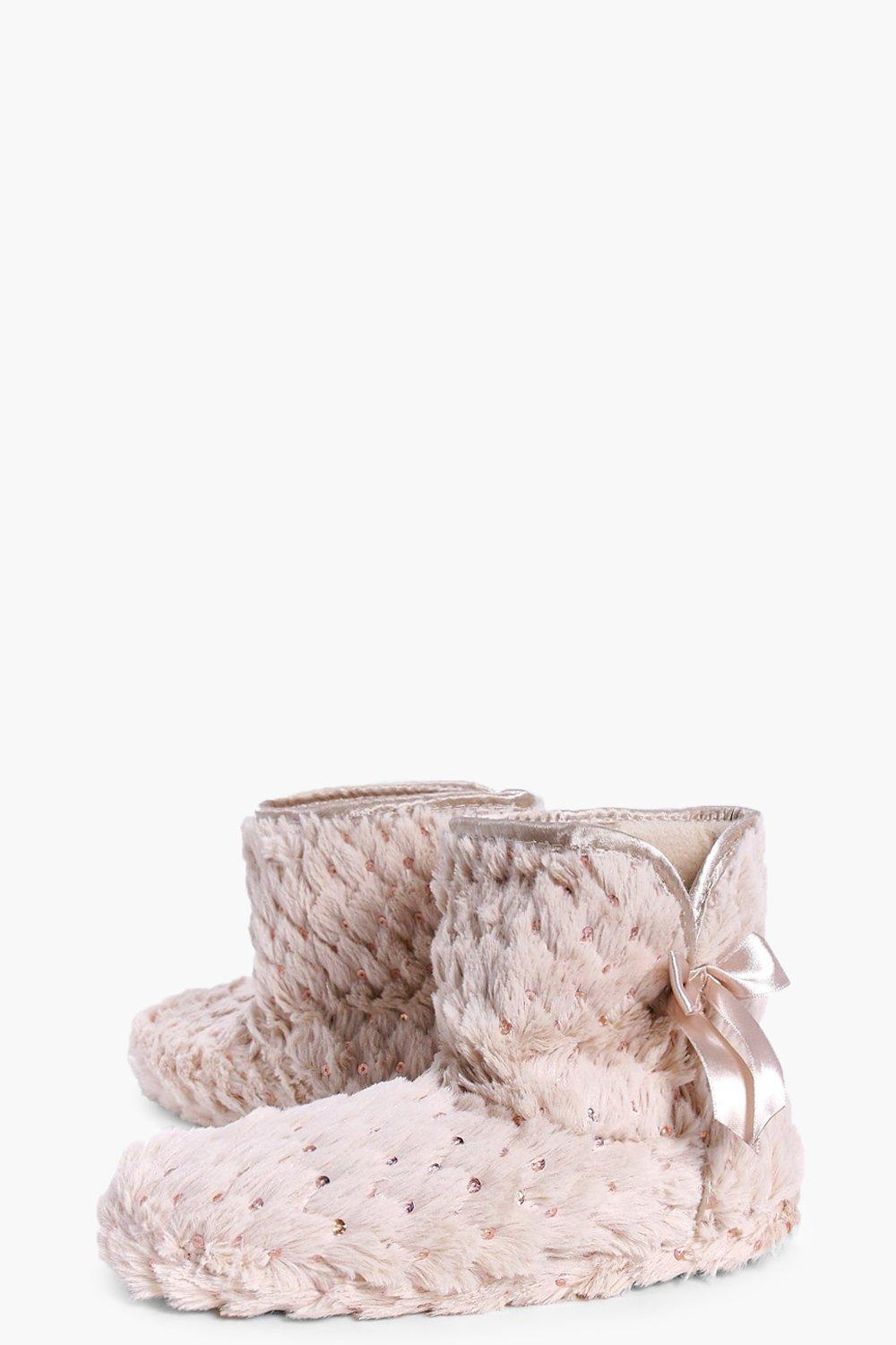 Boohoo Keira Sequin Bootie Slippers in Champagne (Pink)