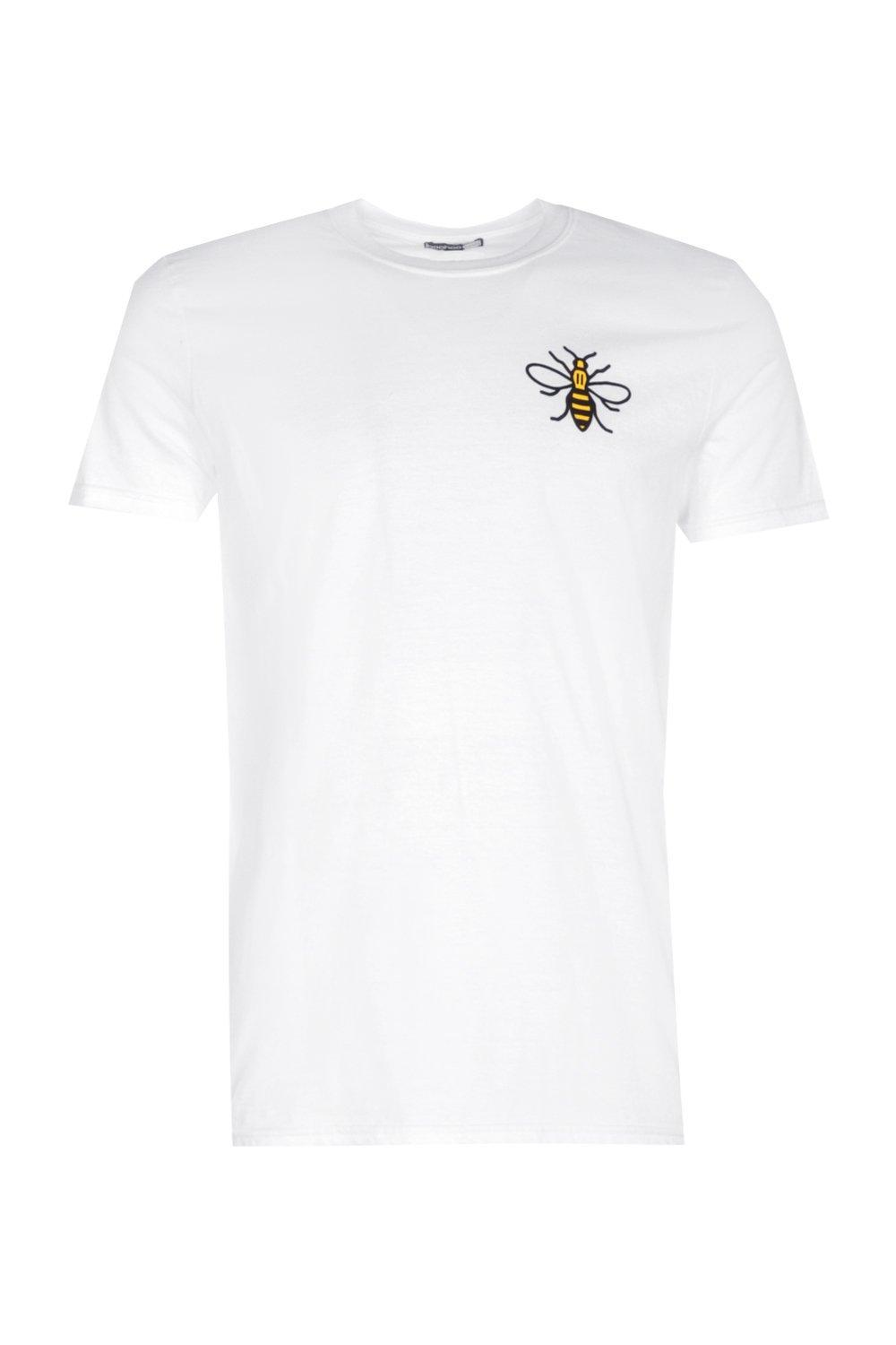 Lyst boohoo charity manchester bee print t shirt in for Charity printed t shirt