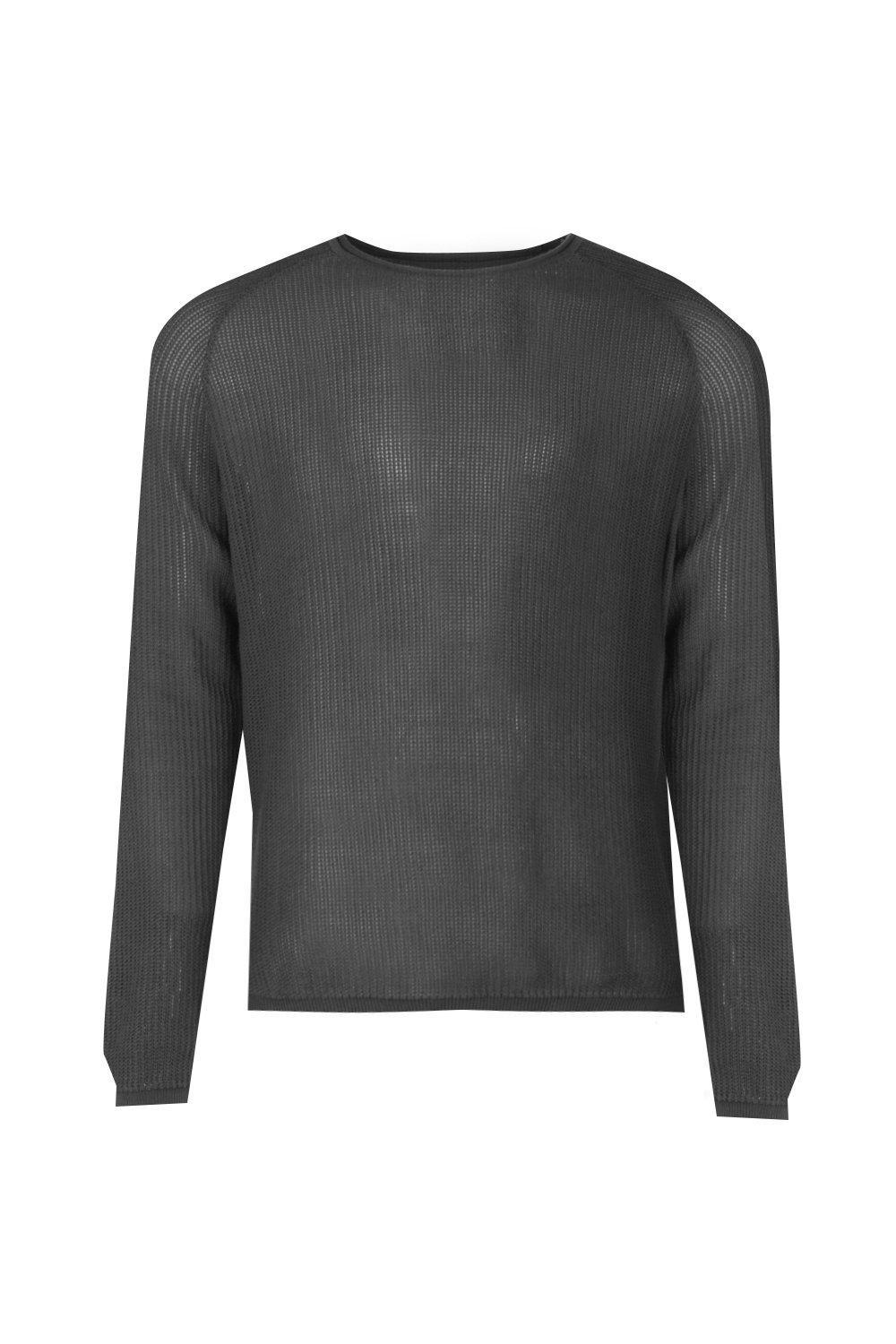 Boohoo Cotton Bagel Neck Draped Jumper With Open Knit in Charcoal (Grey) for Men