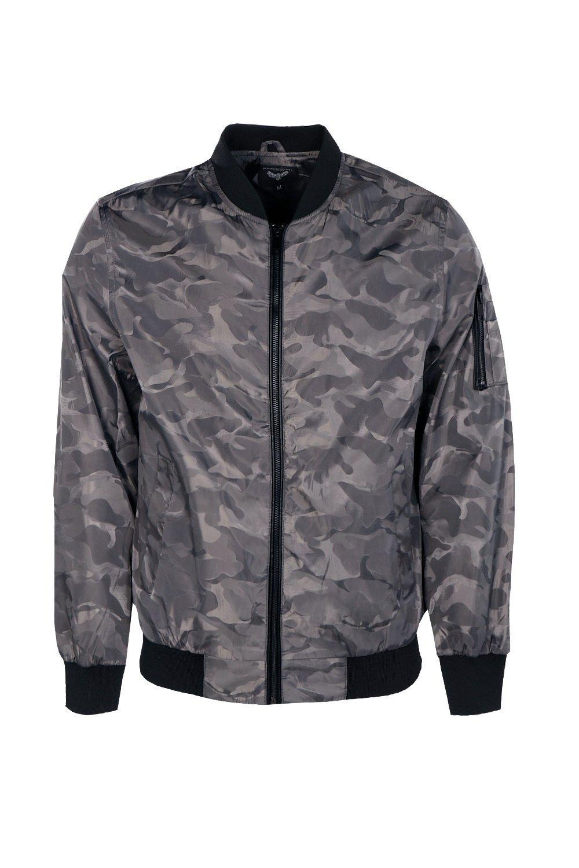 Boohoo Denim Ma1 Detail Camo Bomber Jacket in Grey (Grey) for Men