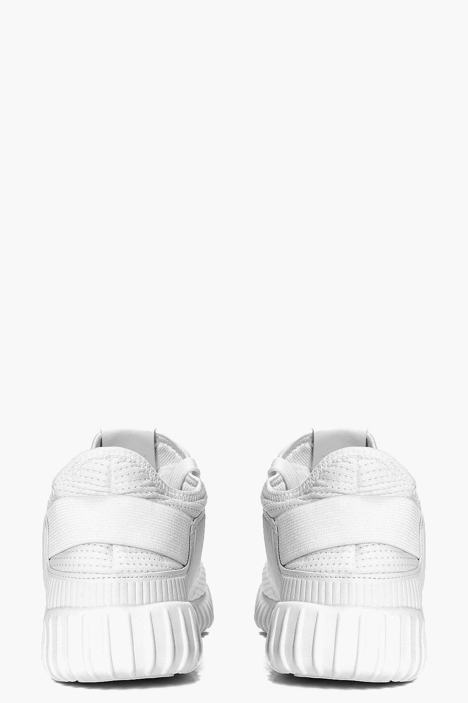 Boohoo Denim Knitted Running Trainer in White