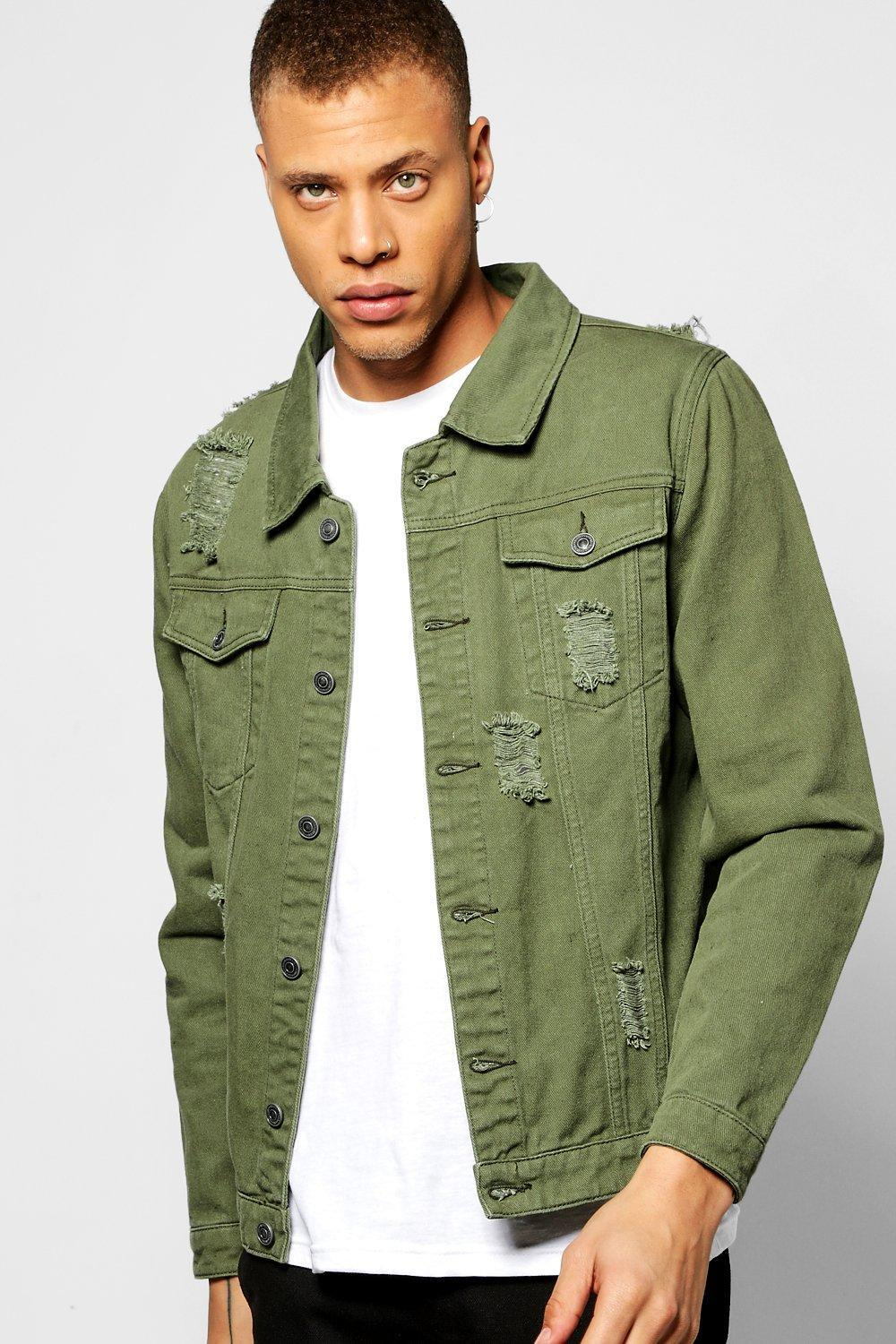 Boohoo Khaki Denim Jacket With Abrasions In Green For Men