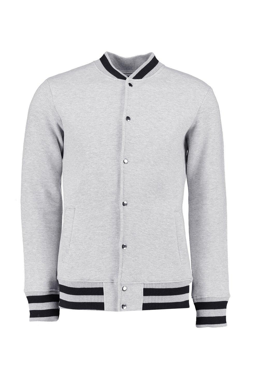 Boohoo Denim Jersey Baseball Jacket in Grey (Grey) for Men