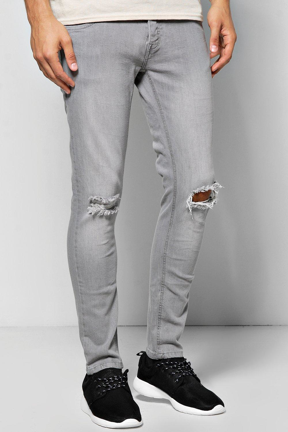 lyst  boohoo skinny fit distressed grey jeans in gray for men