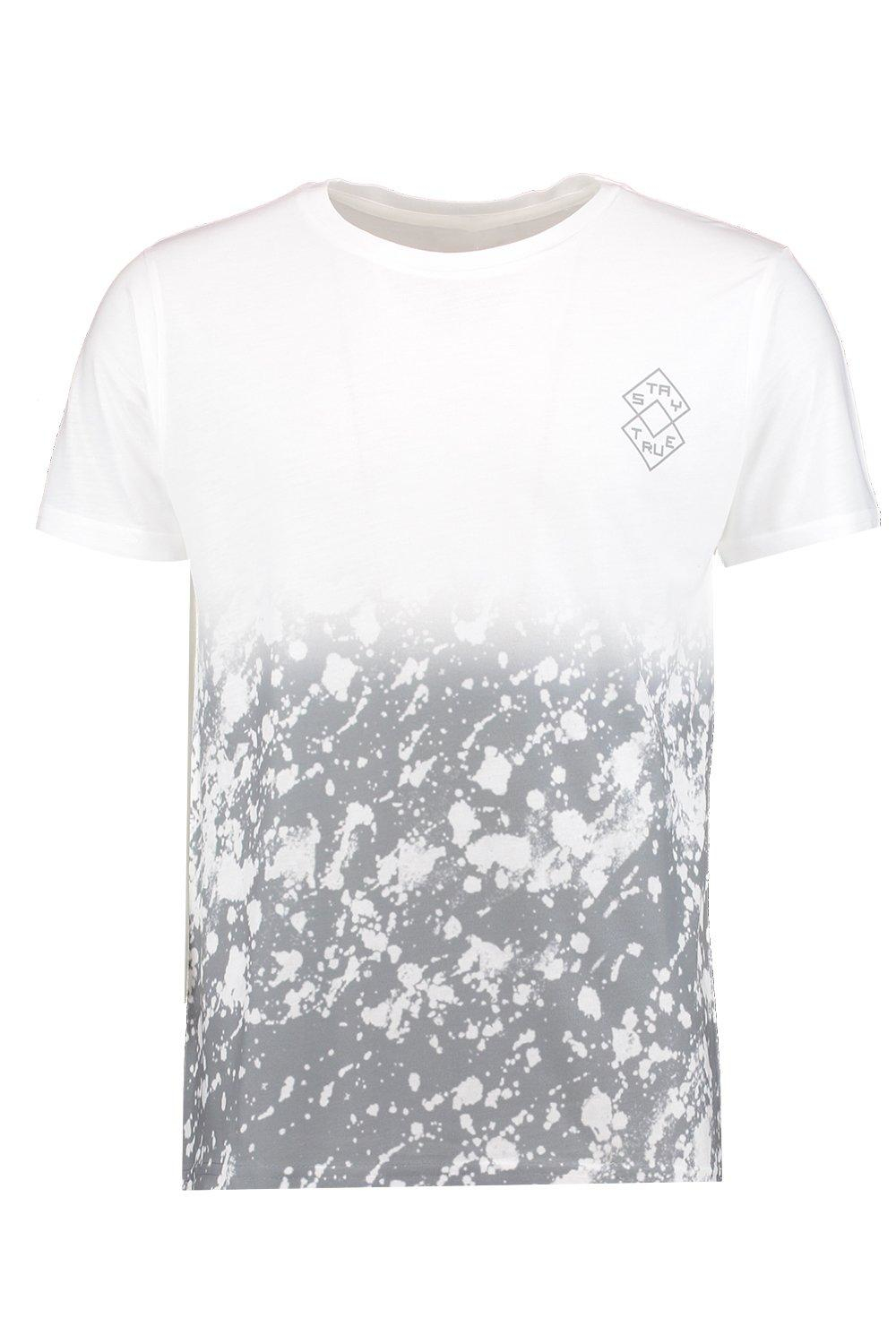 Boohoo faded splatter sublimation t shirt in black for men for Faded color t shirts