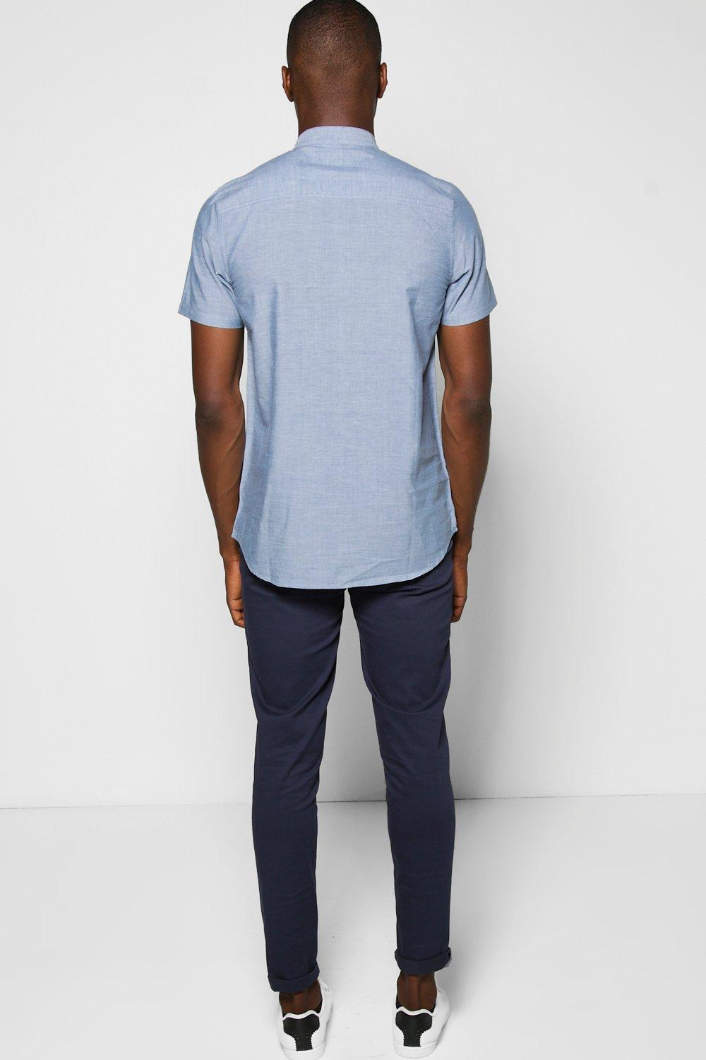 Boohoo short sleeve grandad shirt in blue for men lyst for Short sleeve grandad shirt