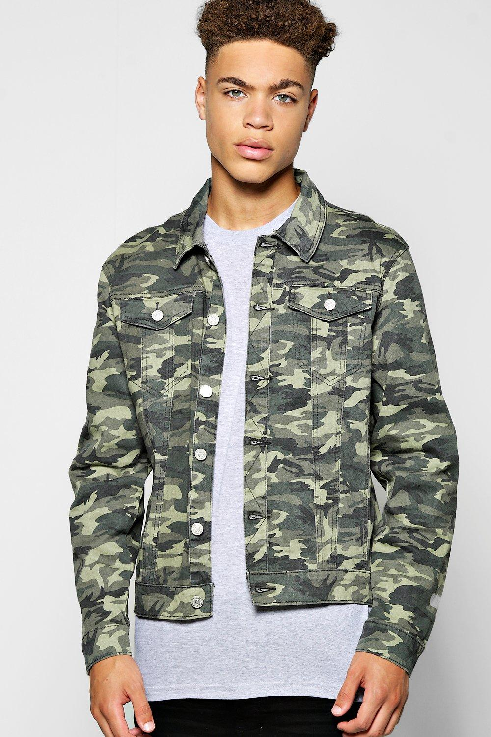 Camo Jacket and Jeans. This is a classic combination that works particularly well if you go for a darker shade of jeans. It's also a rule you should stick to when pairing a jacket with mens camouflage trousers as it won't look as good with lighter hues.