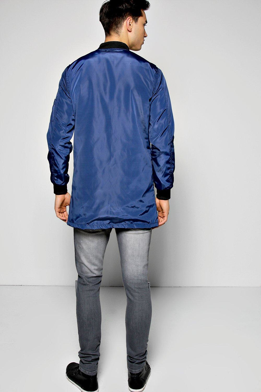 Boohoo Denim Longline Ma1 Bomber Jacket in Navy (Blue) for Men