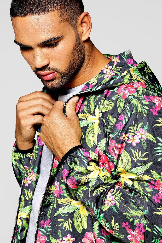 Boohoo Denim Floral Hooded Jacket for Men