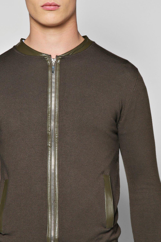 Boohoo Denim Knitted Pu Detail Bomber in Black for Men