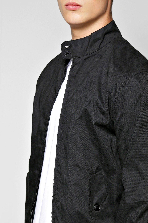 Lyst Boohoo Nylon Twill Harrington Jacket In Black For Men