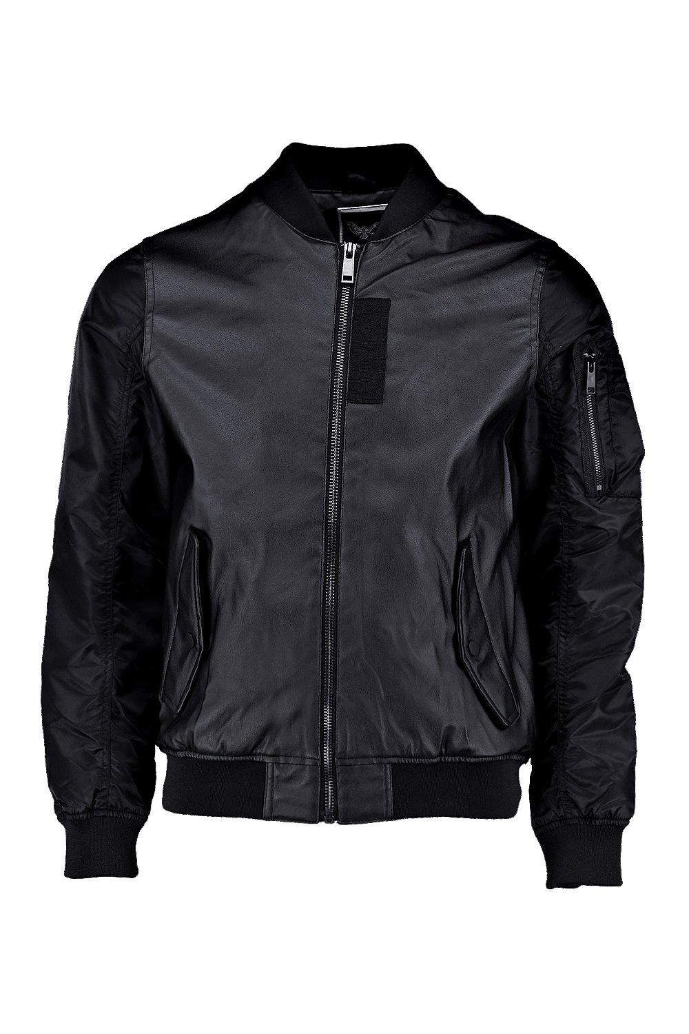 Boohoo Leather Look Ma1 Bomber Jacket in Black for Men