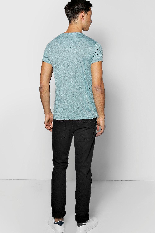 Boohoo Denim Crew Neck Burnout Tshirt in Black for Men