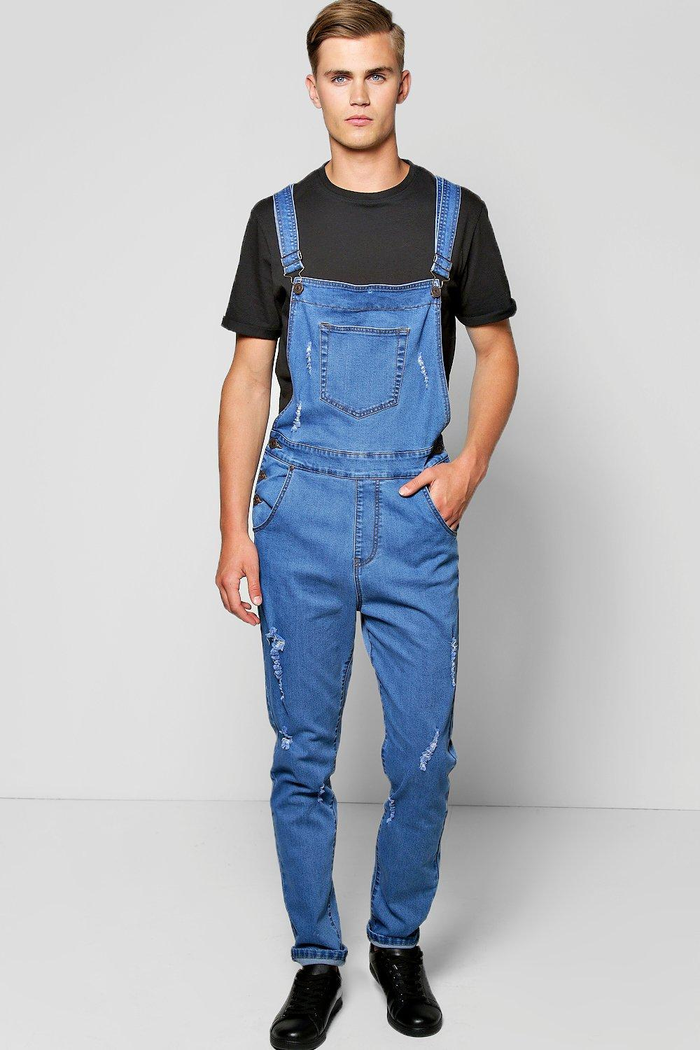 Boohoo Slim Fit Denim Dungarees With Rips In Blue For Men Lyst