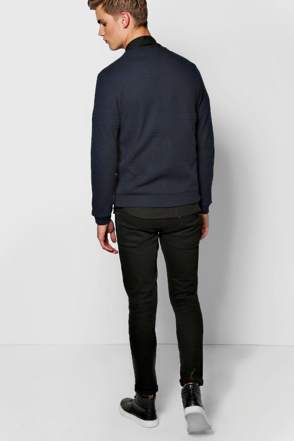 Boohoo Cotton Brushed Waffle Knitted Bomber in Navy (Blue) for Men
