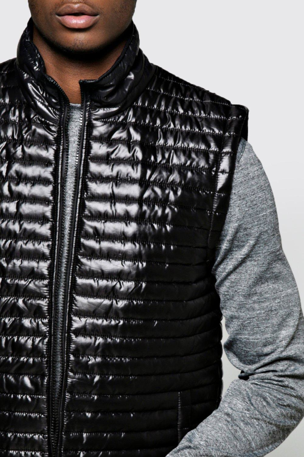 Boohoo Synthetic Padded Sports Gilet in Black for Men