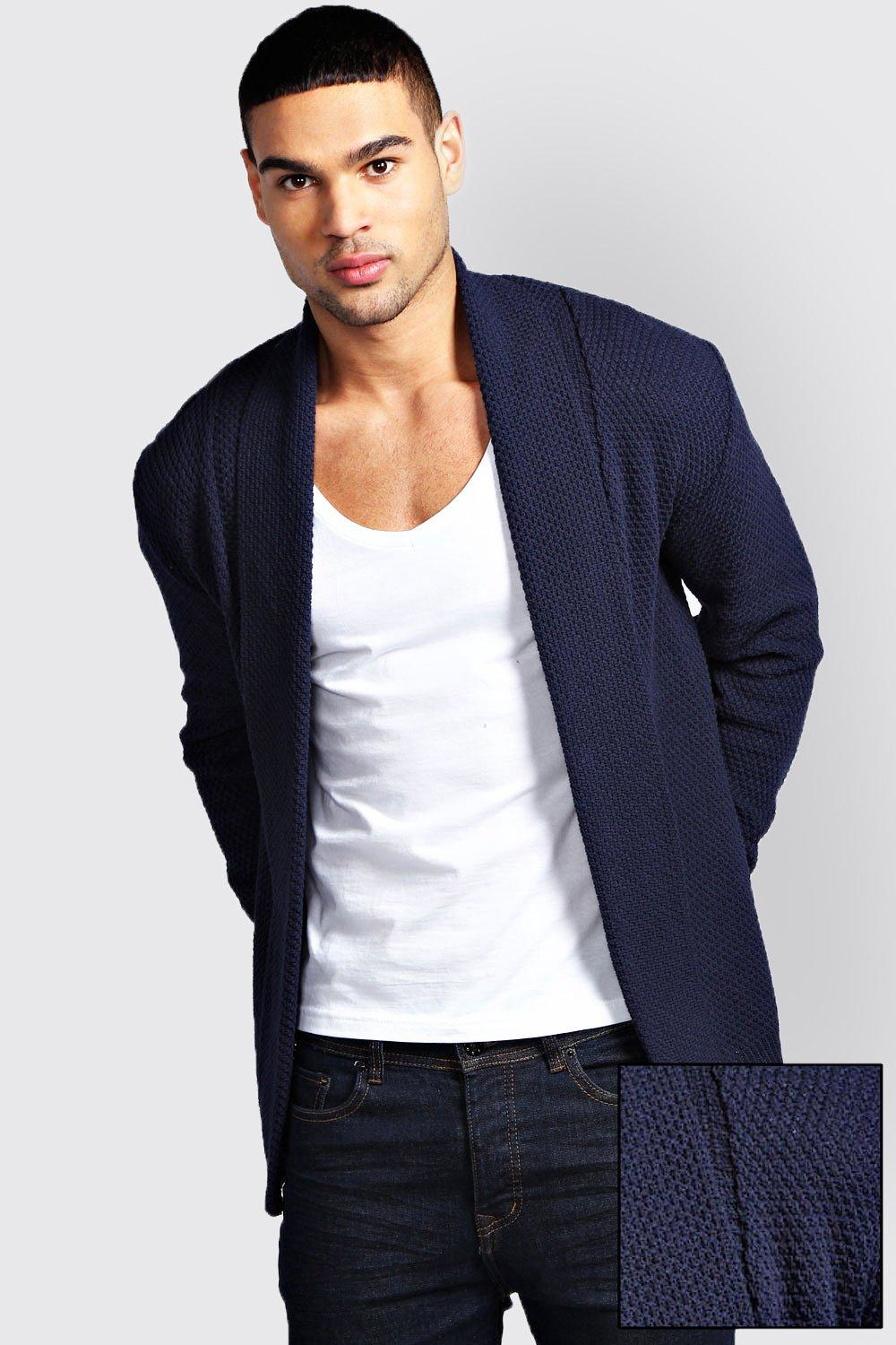 Boohoo Textured Cardigan in Blue for Men