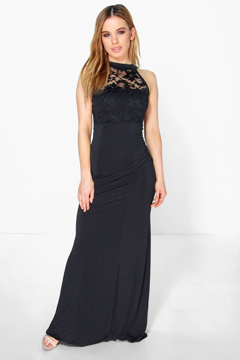 boohoo petite kirsty lace panel slinky maxi dress in black