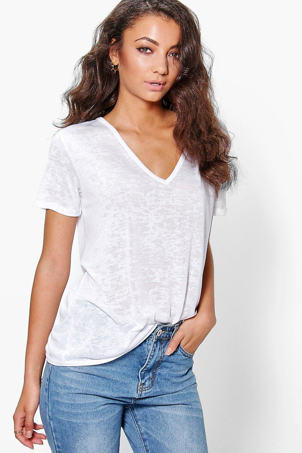 Boohoo tall miri slub burnout oversized v neck tee in for Womens tall v neck t shirts