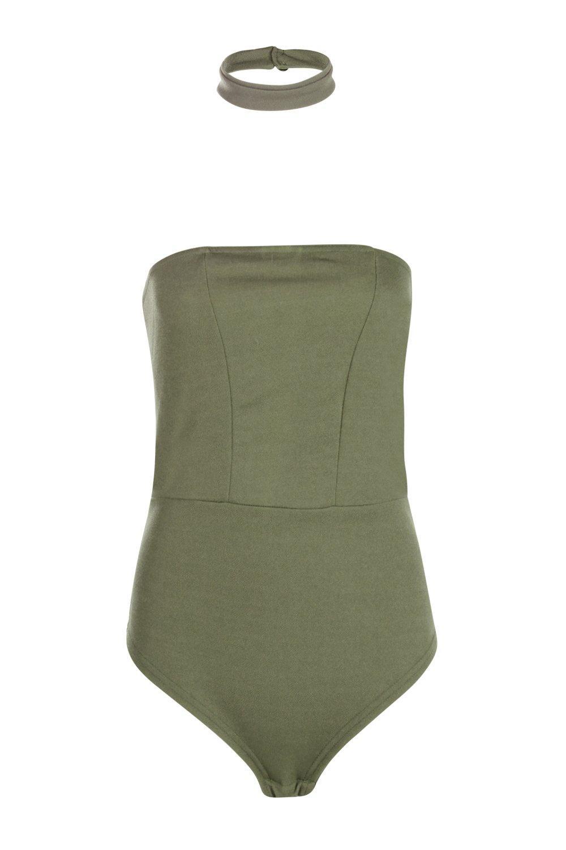 f8875738b39f Lyst - Boohoo Tall Bea Bandeau Detachable Choker Bodysuit in Natural