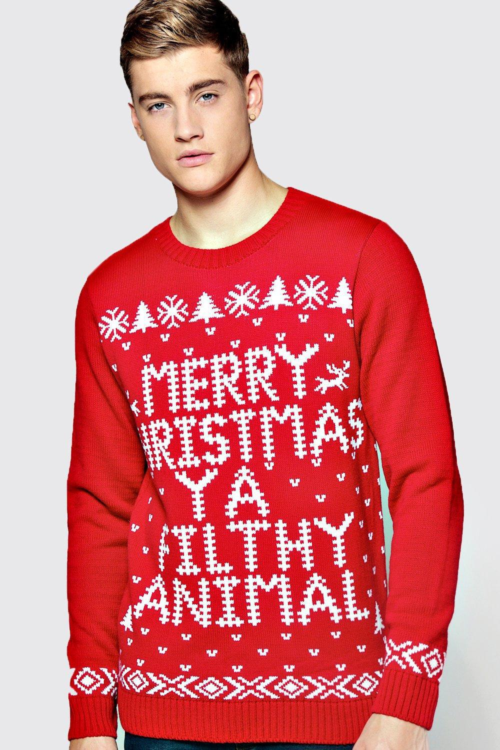 boohoo mens red merry christmas ya filthy animal jumper