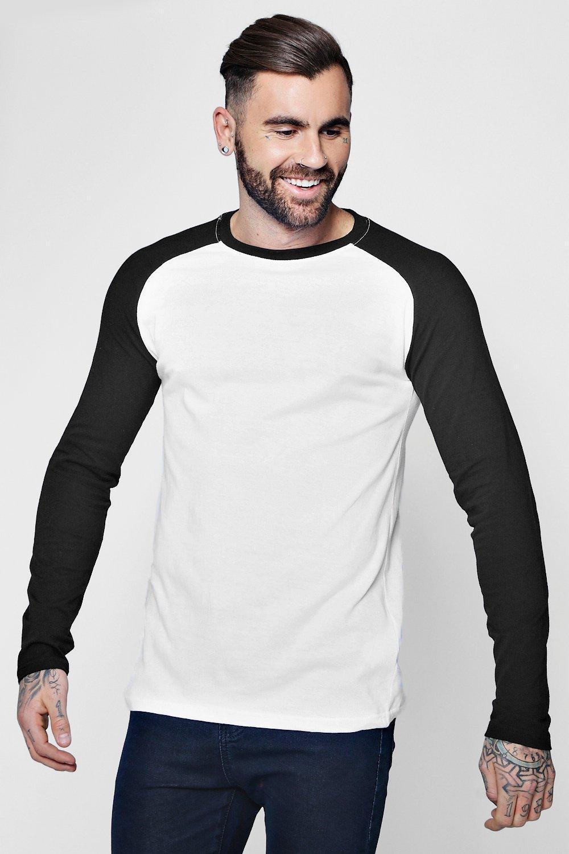 c6e5affad48 Boohoo White Long Sleeve Muscle Fit Contrast Raglan T-shirt for men