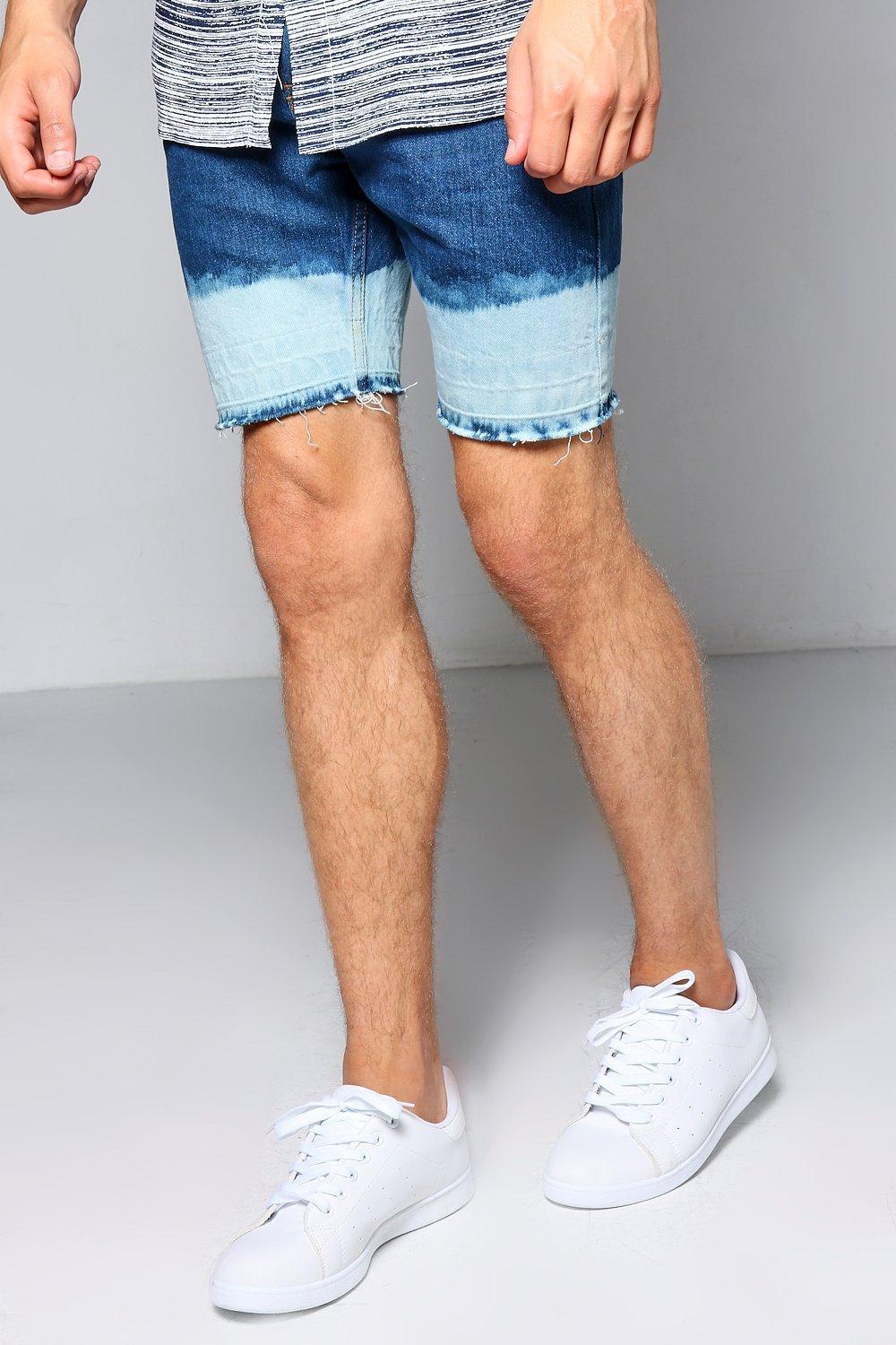 478ed977ab98 Boohoo Skinny Fit Denim Shorts With Bleached Hem in Blue for Men ...