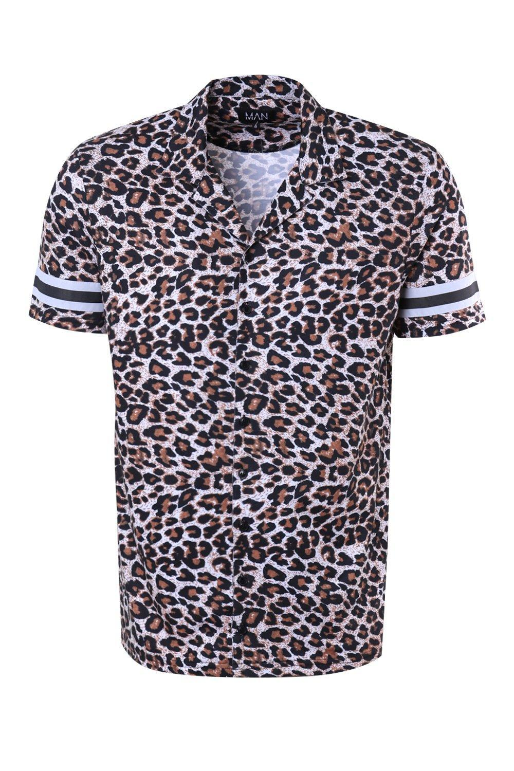 3e540a349e Boohoo French Leopard Revere Shirt Co-ord in Blue for Men - Lyst