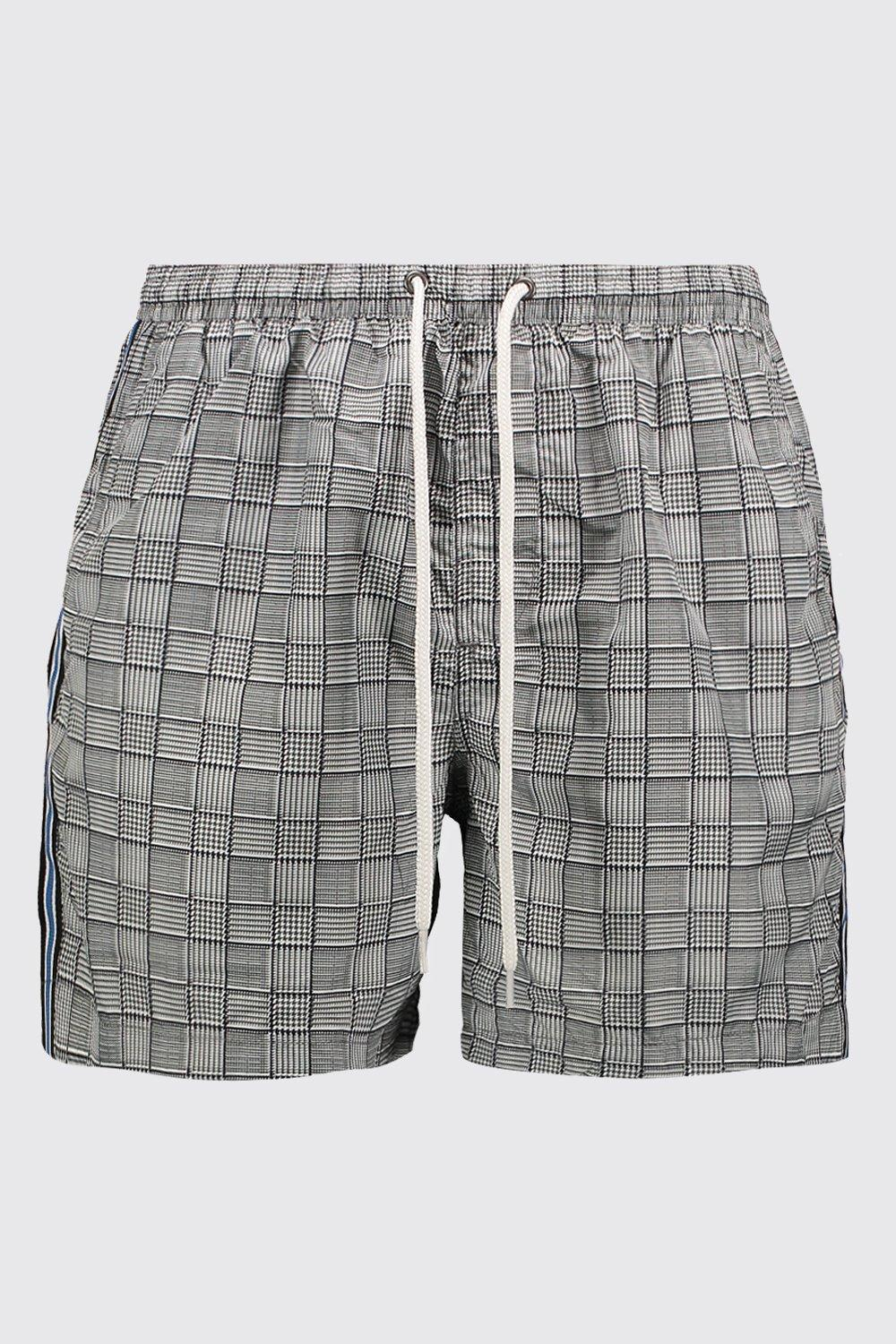 2175091ddde1d Lyst - BoohooMAN Check Print Swim Short With Side Tape in Black for Men