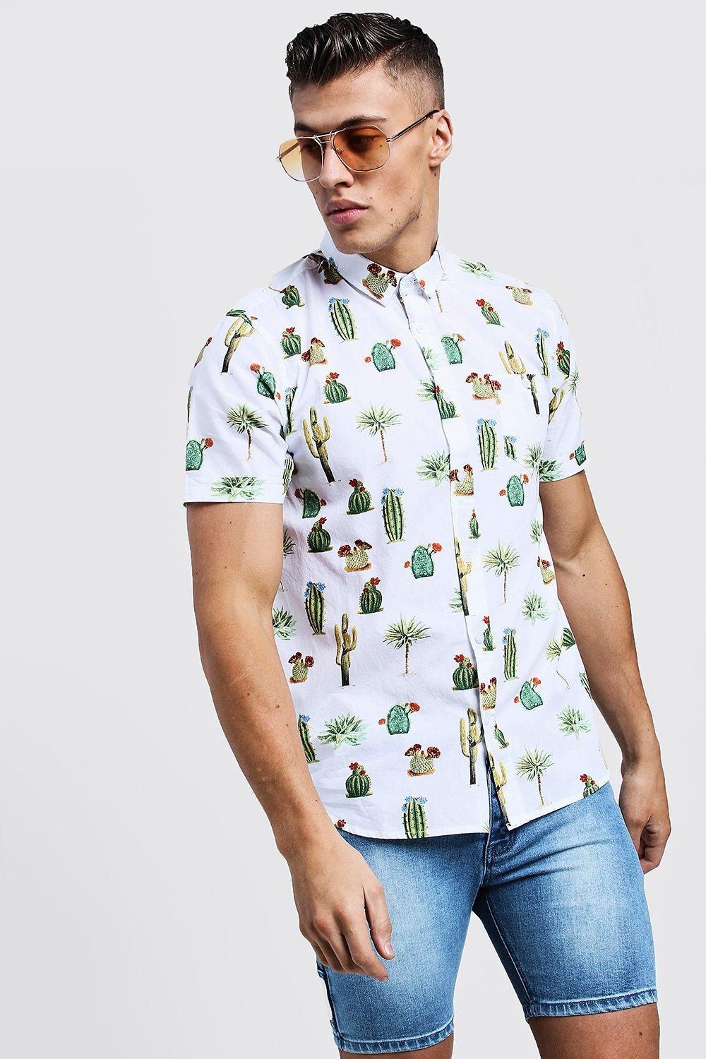 63983405 BoohooMAN Cactus Print Short Sleeve Cotton Shirt in White for Men - Lyst