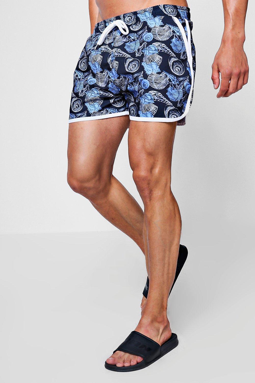d1b293f9f19e4 Lyst - BoohooMAN Shell Print Runner Swim Short in Black for Men