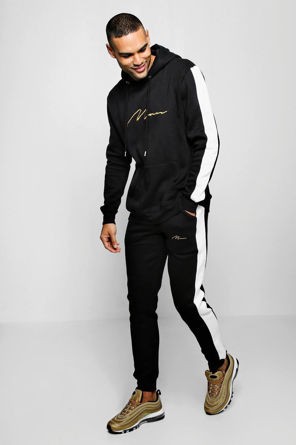 79f1dd94f7ab Lyst - Boohoo Contrast Panel Tracksuit With Gold Man Embroidery in ...