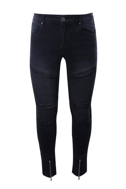 Boohoo Denim Super Skinny Repaired Biker Jeans in Washed Black (Black) for Men