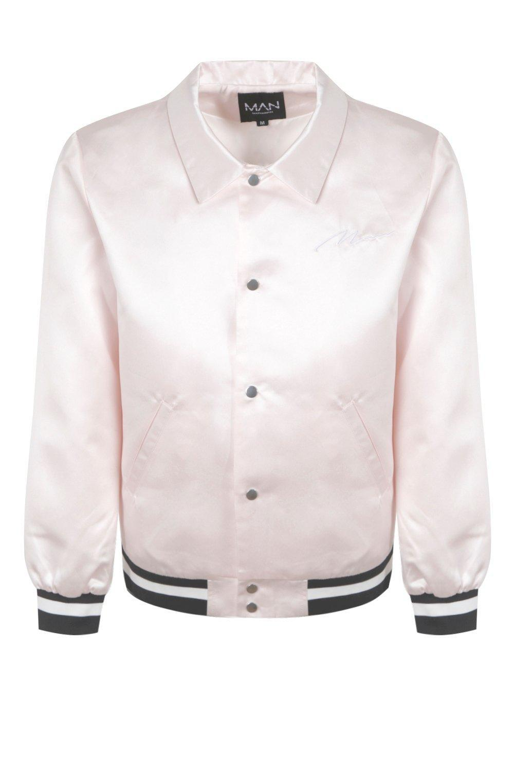 Boohoo Satin Coach Jacket With Chest Embroidery in Pink for Men