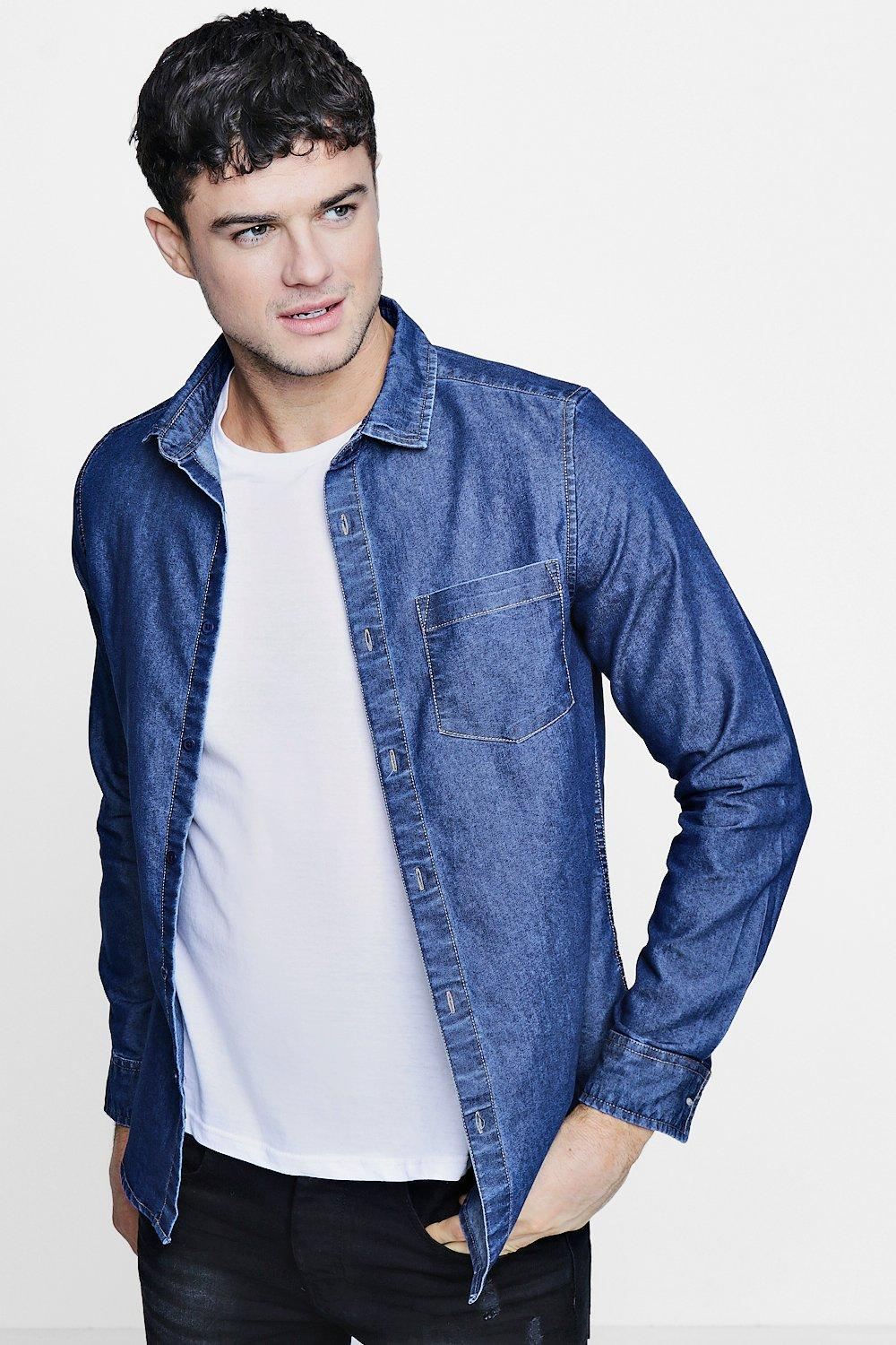 781361a44e Lyst - Boohoo Denim Shirt In Mid Wash in Blue for Men