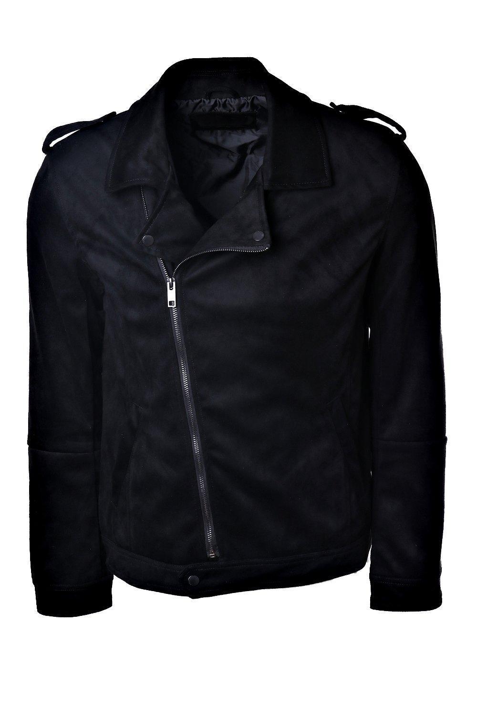 BoohooMAN Faux Suede Biker Jacket in Black for Men