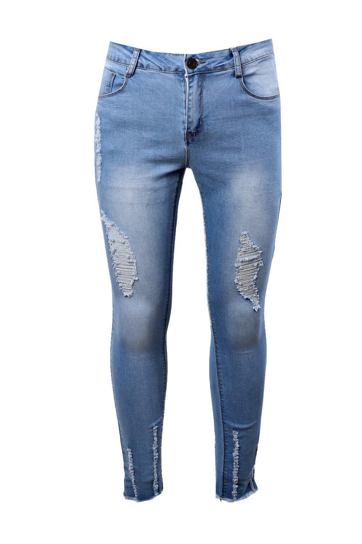 Boohoo Denim Light Blue Super Skinny Jeans With Raw Hem for Men