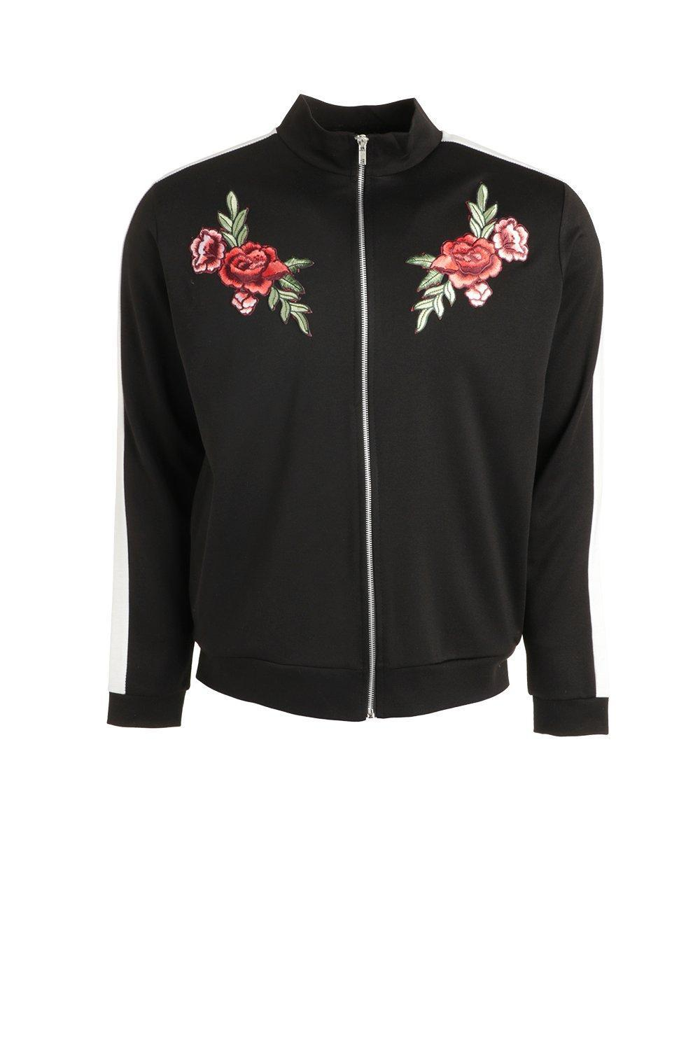 Boohoo Synthetic Contrast Panel Track Top With Floral Embroidery in Black for Men