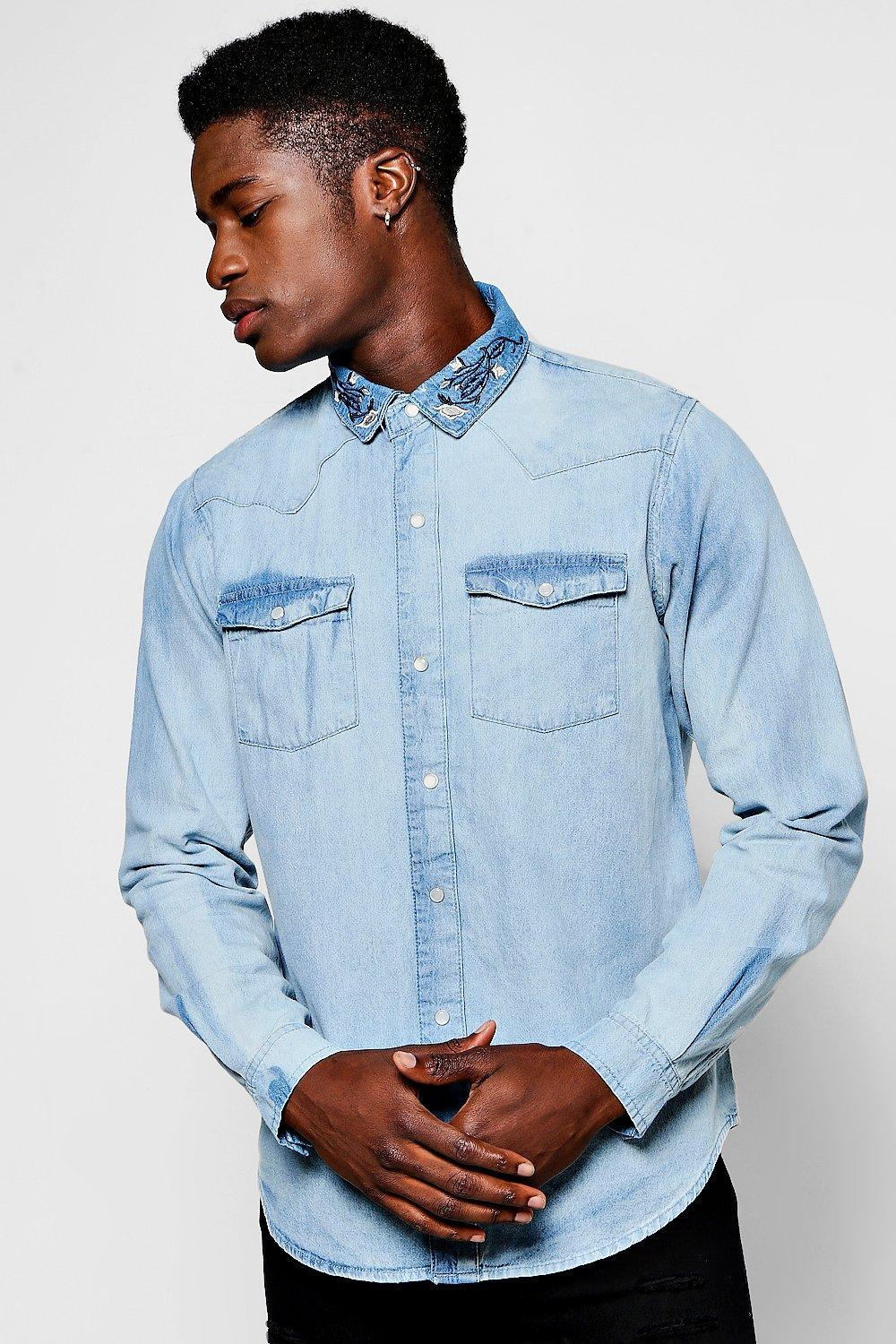 bfba443b03 Lyst - Boohoo Long Sleeve Denim Shirt With Embroidered Collar in ...