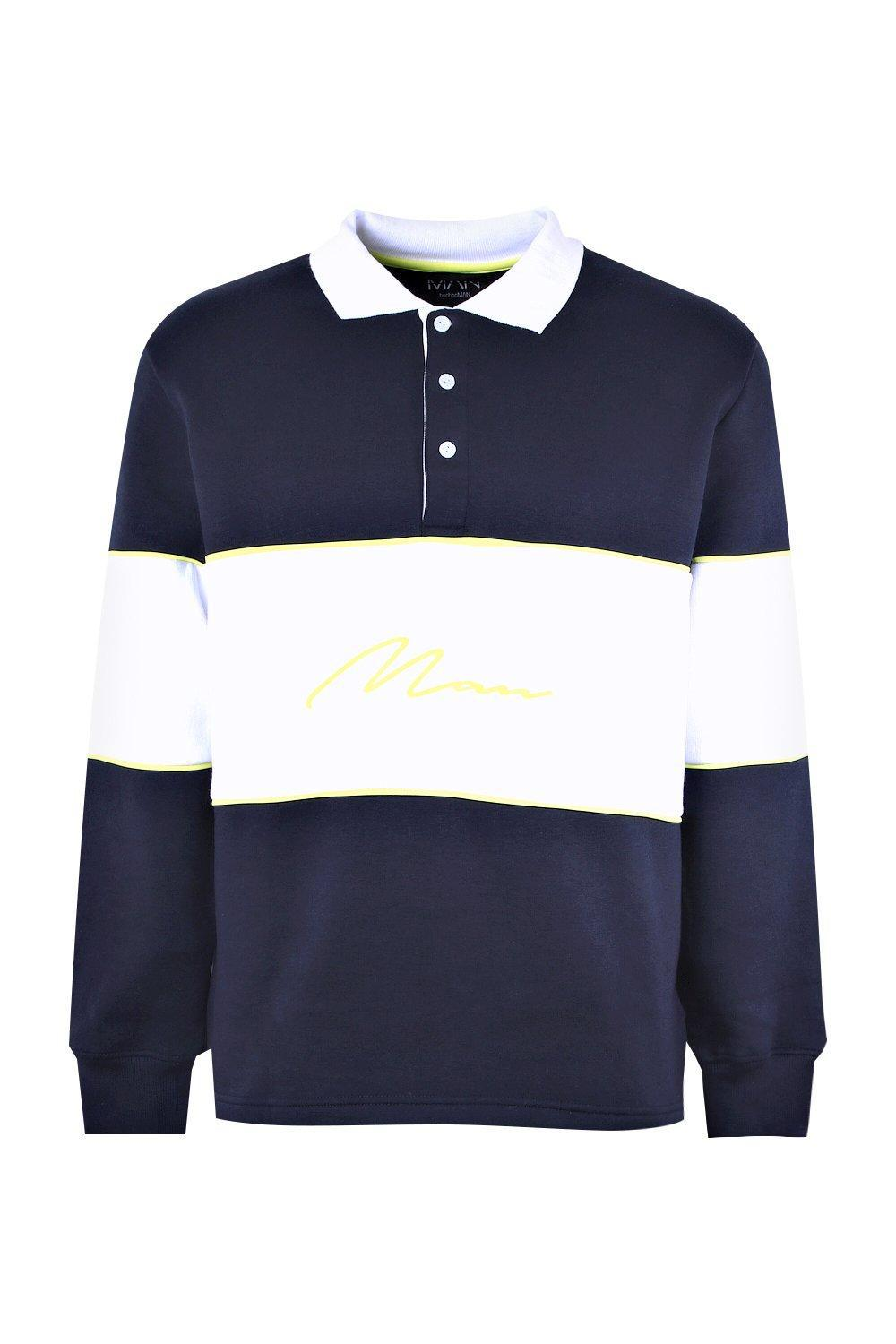 BoohooMAN Denim Neon Man Signature Colour Block Rugby Polo in Navy (Blue) for Men