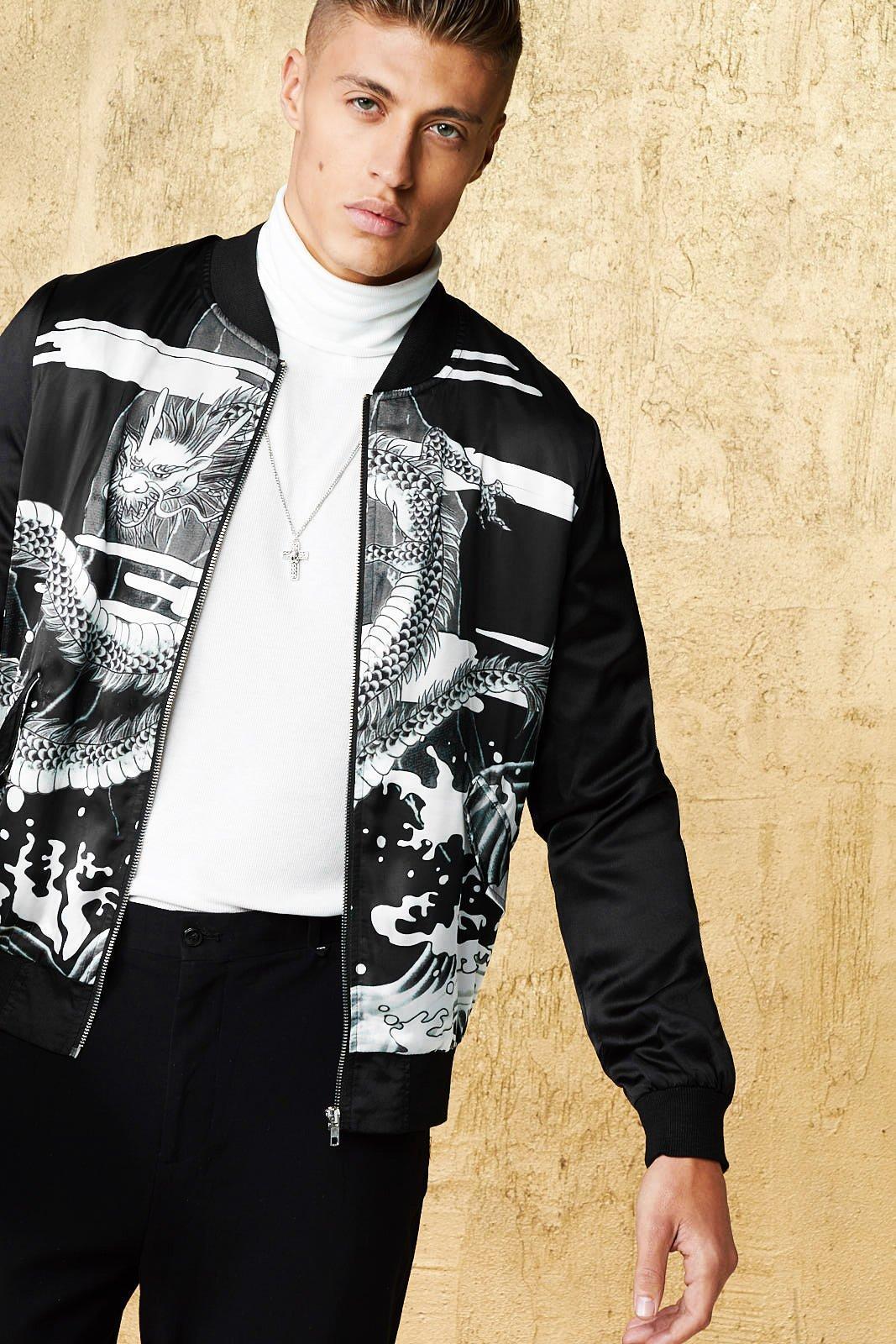 cb517376b Boohoo Dragon Print Sateen Bomber Jacket in Black for Men - Lyst