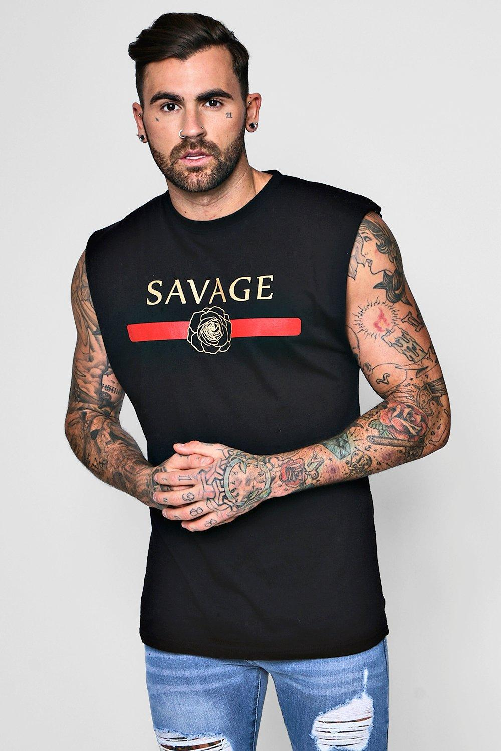 BOOHOOMAN SAVAGE TANK - Top - black SHkc3nvB
