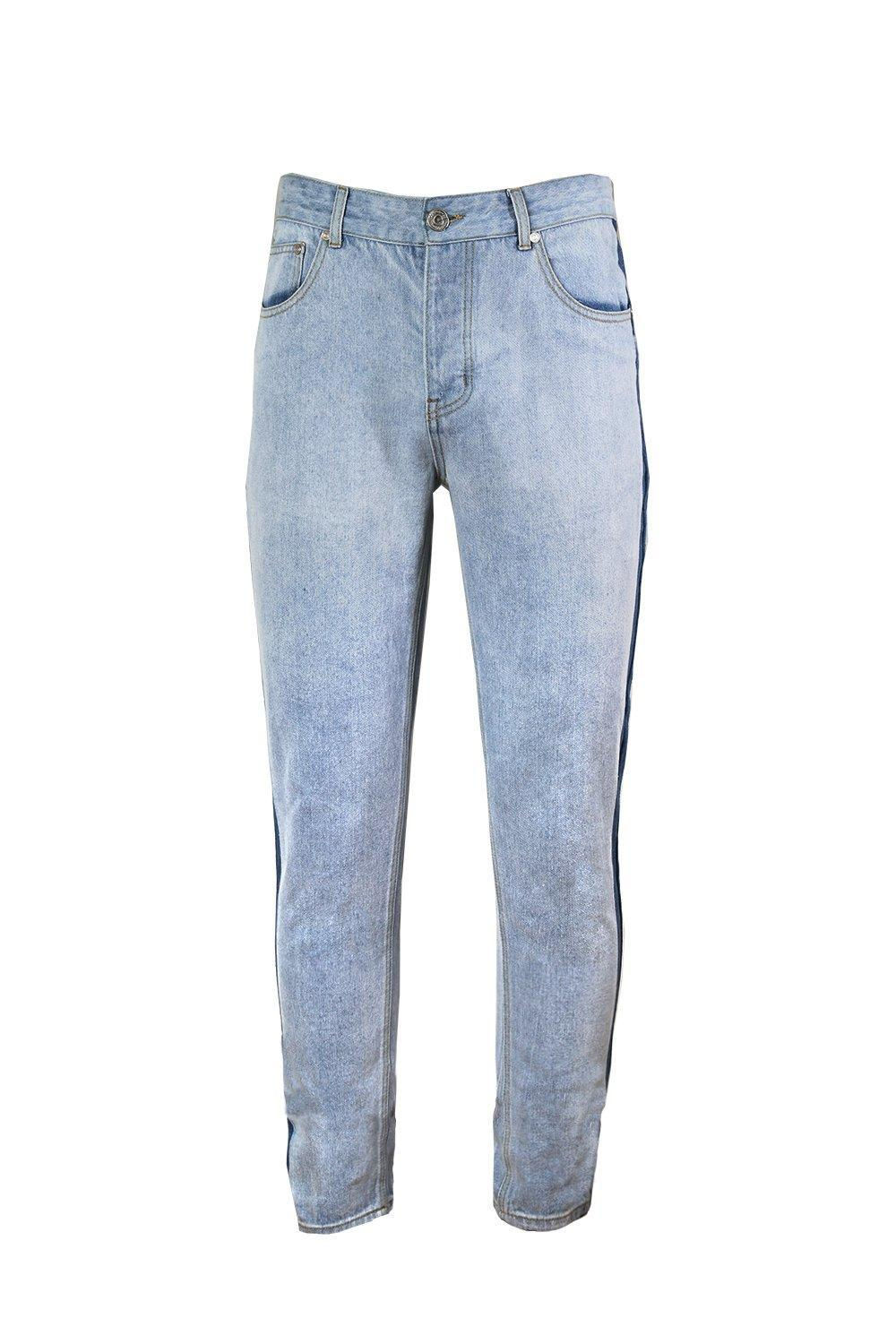 With Washed Boohoo Side Fit Lyst Blue For Jeans Seam Men In Skinny wFxq6Ag