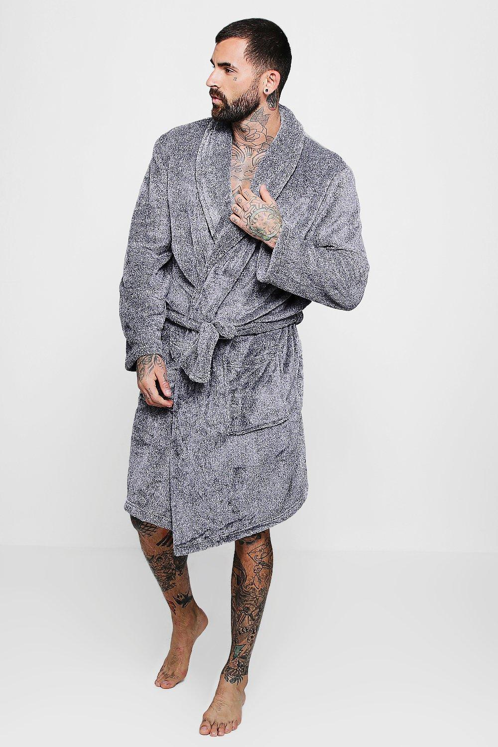e1f3a59f21db BoohooMAN Mens Shaggy Fleece Robe With Contrast Lining in Gray for ...