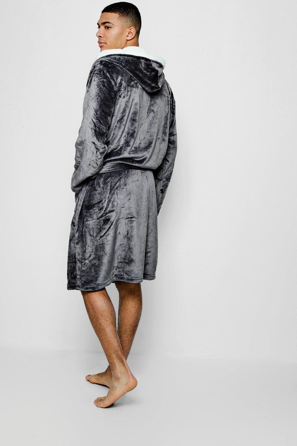 ccff48a781b7 Boohoo Hooded Fleece Robe With Sherpa Lining in Gray for Men - Lyst