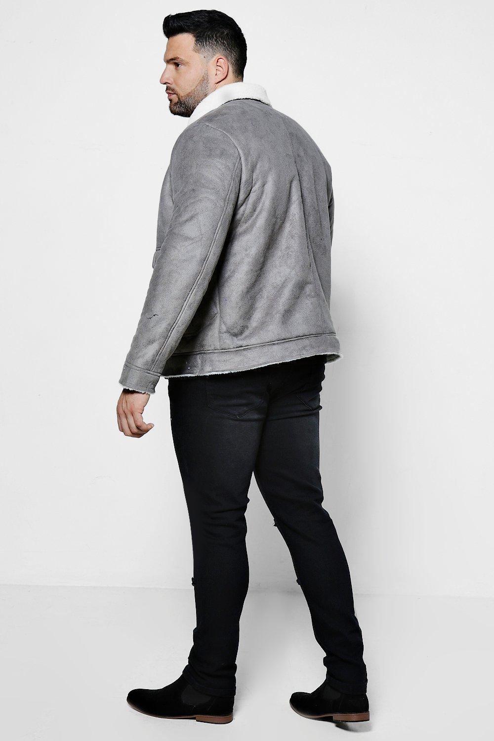 Boohoo Big And Tall Borg Collar Faux Suede Jacket in Grey (Grey) for Men