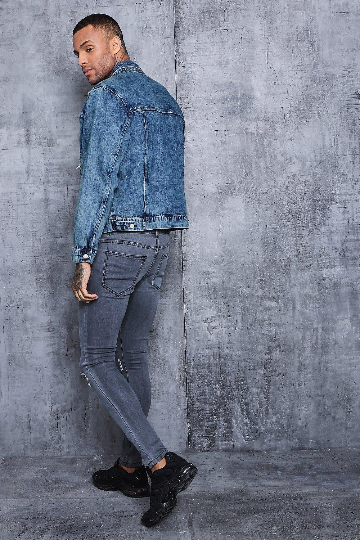 Boohoo Oversized Denim Jacket With Light Paint Splatter in Indigo (Blue) for Men
