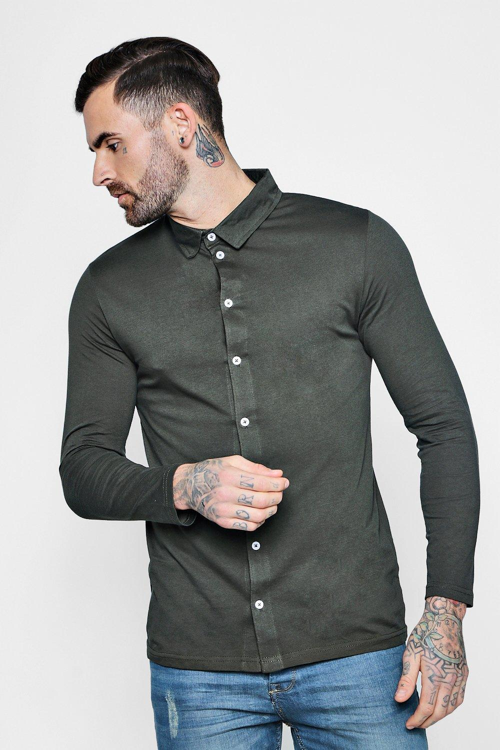 d45ea7f521 Lyst - Boohoo Long Sleeve Jersey Shirt in Green for Men