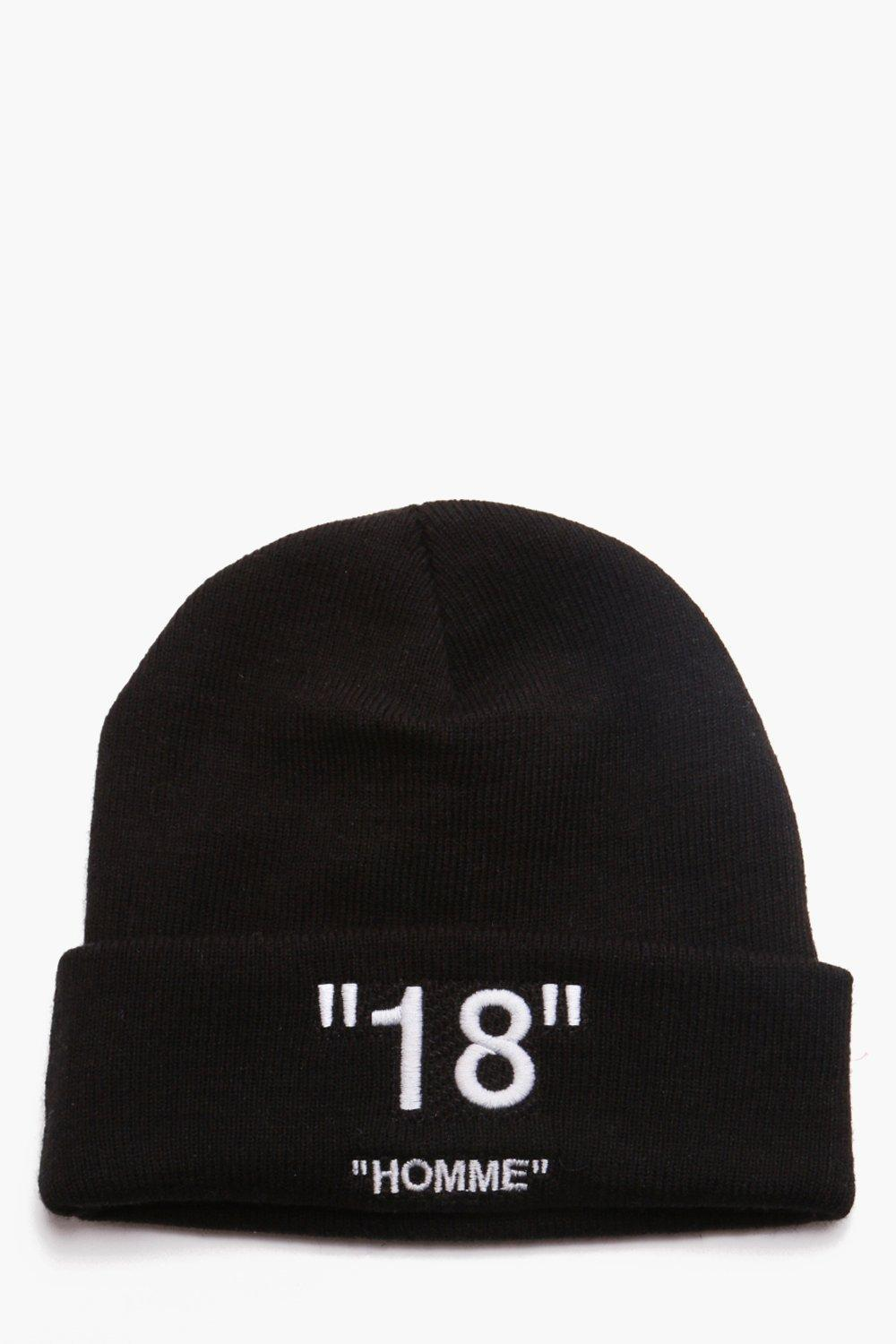 602420dc3d0 Lyst - Boohoo Man Certified 18 Homme Embroidered Beanie in Black for Men
