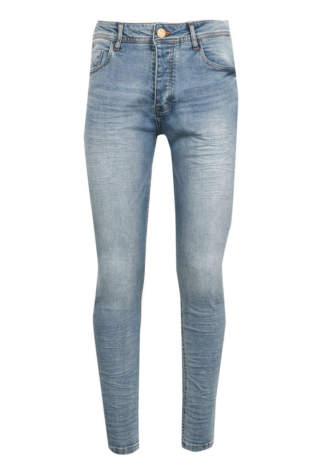 BoohooMAN Stretch Skinny Blue Wash Denim Jeans for Men